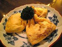 納豆ソースの薄揚げ包み焼き